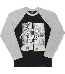 camiseta livy inverno skateboarding preto/mescla médio