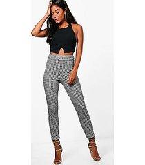 somaia monochrome check skinny stretch trousers