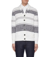 bold stripe shawl collar cardigan