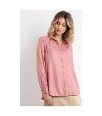 camisa feminina alongada manga longa rosa