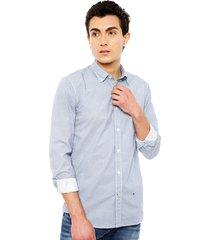 camisa pepe jeans casual david azul - calce slim fit