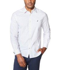 nautica men's classic-fit stretch dot-print shirt