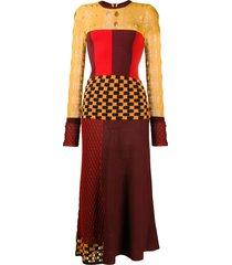ports 1961 multi-knit long sleeved midi dress - yellow