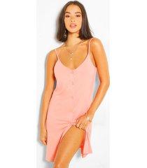 button through cami slip dress, coral