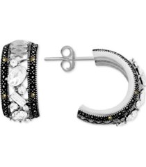 genuine swarovski marcasite & crystal small hoop earrings in fine silver-plate, .77""