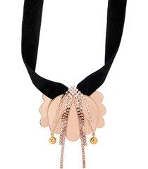 la doublej draped floral necklace - gold