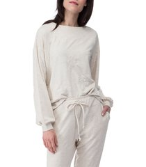 women's bobeau emmanuel french terry sweatshirt, size x-small - beige