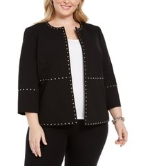 kasper plus size stud-trim open-front jacket