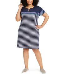 karen scott plus size cotton striped lace-up dress, created for macy's