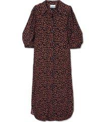 floral-print crepe midi shirt dress
