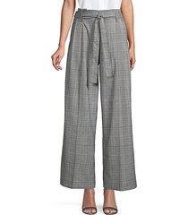 glen plaid wide-leg belted pants
