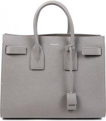 saint laurent sac de jour small gray leather tote bag gray sz: m