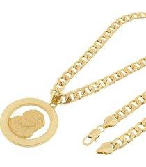 kit medalha face de cristo tudo joias com corrente grumet 8mm e 60cm folheado a ouro 18k