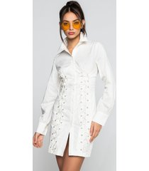 akira let it be known mini dress with lace up and bishop sleeves
