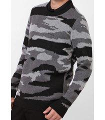 suéter opera rock tricot camuflado azul
