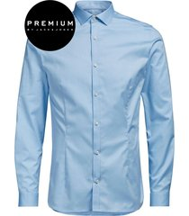 jack & jones premium heren overhemd parma satijn super slim fit blauw