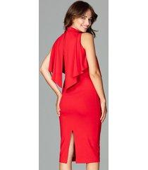 sukienka midi z motywem falbany