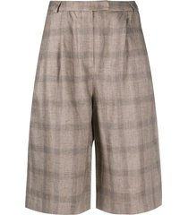 12 storeez check print knee-length shorts - brown