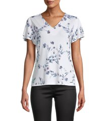 calvin klein women's floral tiered-sleeve top - white multi - size s