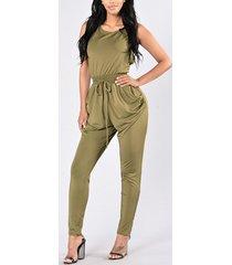 army green crossed backless drawstring cintura moda mono