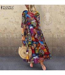 vestido largo con estampado floral zanzea para mujer-multicolor