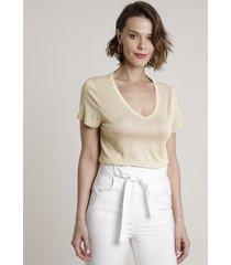 blusa feminina com lurex manga curta decote v bege