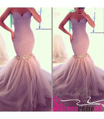 2015 spring mermaid sweetheart long tulle lilac prom dress elegant evening gown