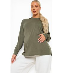 zwangerschap oversized geribbelde hoodie, khaki