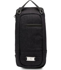 diesel logo plaque denim one-shoulder backpack - blue