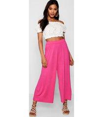 basic jersey wide leg culottes, millennial pink