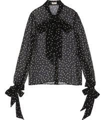 scarf detail polka dot sheer silk blouse