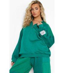 groene colour block sweater met korte rits, green