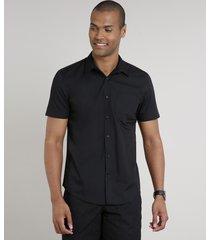 camisa masculina comfort com bolso manga curta preta