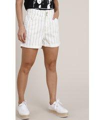 short de sarja feminino clochard cintura super alta estampado risca de giz off white