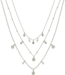 ettika crystal detailed triple layer women's necklace