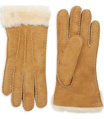 ugg shearling-cuff sheepskin gloves - stormy grey - size m
