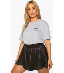 plus self love slogan pocket print t-shirt, grey marl
