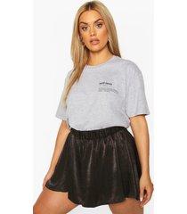 plus 'self love' t-shirt met borstopdruk, grijs gemêleerd