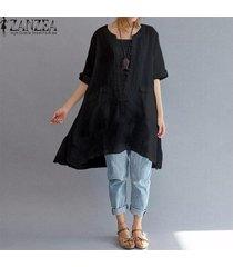 zanzea mujeres 3/4 de algodón de manga larga ocasional floja remata la blusa camisa pullover plus -negro