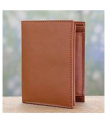men's leather wallet, 'elegant tan' (india)
