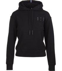 mcq alexander mcqueen black graphic-print hoodie woman