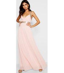 boutique maxi bruidsmeisjes jurk met pailletten en panelen, blush