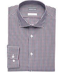michael kors wine & navy check slim fit dress shirt