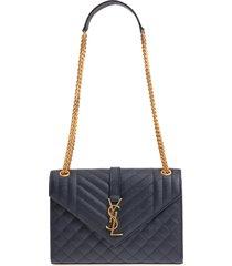 saint laurent medium cassandra calfskin shoulder bag - blue