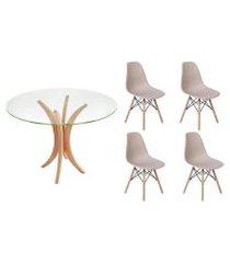 kit mesa de jantar 90cm tampo de vidro + 04 cadeiras charles eames - nude