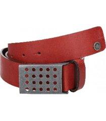 cinturón cuero liso borde pintado rojo panama jack