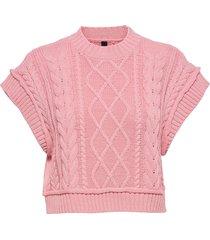yasfreya cropped knit gilet - ca vests knitted vests rosa yas