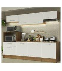 cozinha completa madesa onix 240001 com armário e balcão rustic/branco rustic/branco