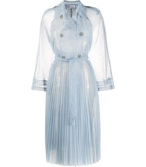 redvalentino point d'esprit tulle trench coat - blue
