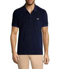 lacoste men's cotton fleece polo shirt - flour - size 4 (m)